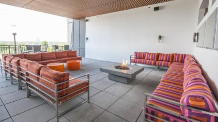 Sky Lounge with Social Seating and Fire Pit | Modera Morningside