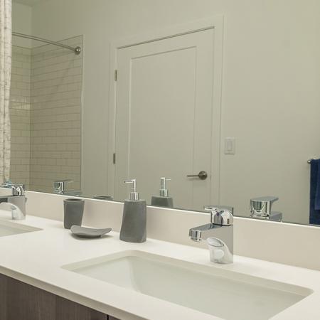 Quartz Counter and Modern Fixtures in Bathroom | Modera Hopkinton