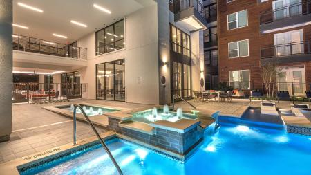 Water Features in Pool | Modera Near the Galleria