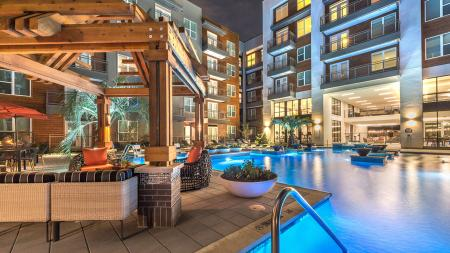 Outdoor Lounge Overlooking Resort-Style Pool | Modera Near the Galleria