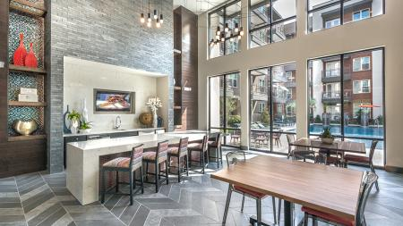 Clubhouse Kitchen with Pool View | Modera Near the Galleria