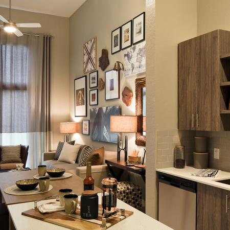 Kitchen and Living Area with High Ceiling | Modera Port Royale
