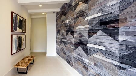 Clubhouse Wall with Chevron Wood Detailing | Modera Port Royale