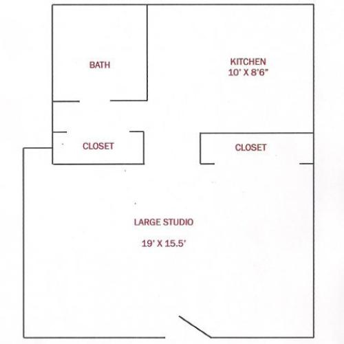 Large Studio | 430 sqft