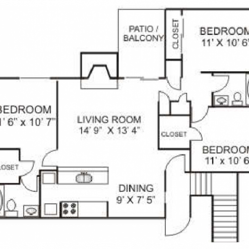 Three Bedroom / Two Bathroom 1100 sqft Full Size Washer/Dryer in every home.