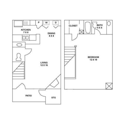 One Bedroom Townhome | 790 sqft
