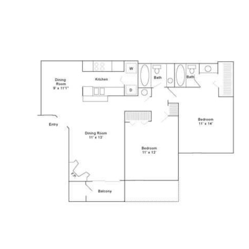 Two Bedroom | Two Bathroom | 960 sqft
