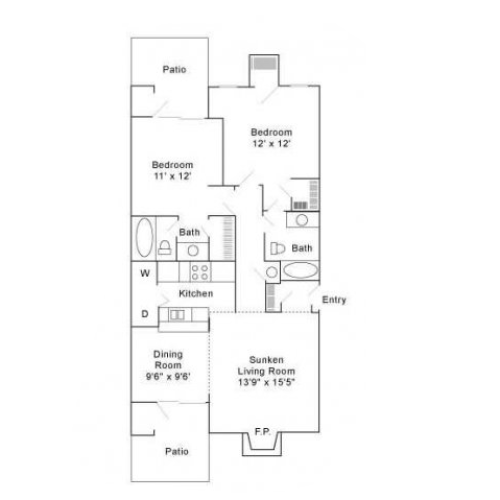 Two Bedroom | Two Bathroom | 990 sqft