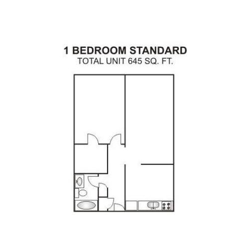 One Bedroom Standard | 645 sqft