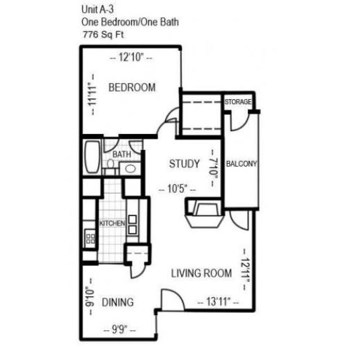 One Bedroom with Study | 776 sqft