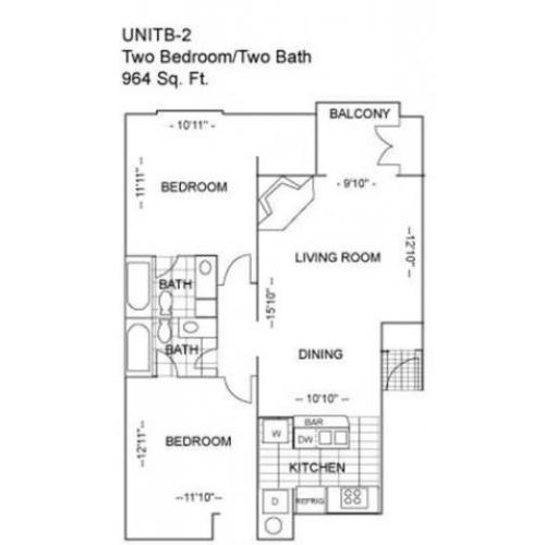 Two Bedroom | 964 sqft