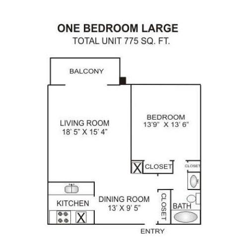 Floor Plan 3 | One Bedroom Apartment In Charlotte Nc | Charlotte Woods