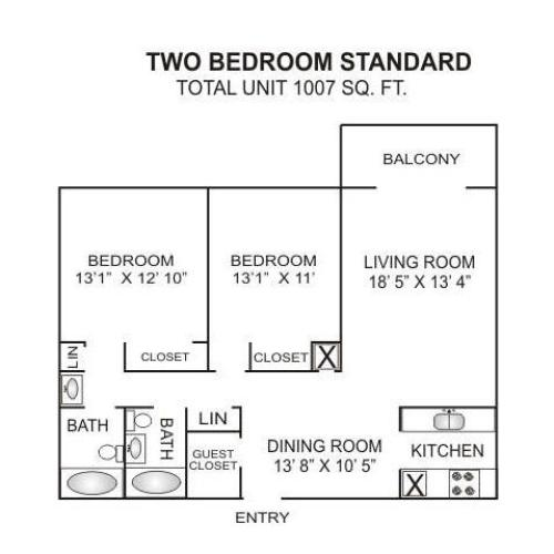 Floor Plan 5 | 2 Bedroom Apartments Charlotte Nc | Charlotte Woods