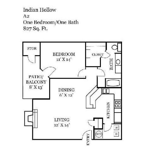 One Bedroom | 827 sqft