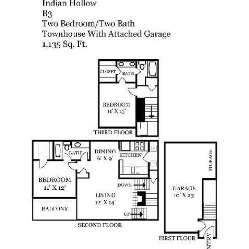 Two Bedroom | Two Bathroom | 1135 sqft