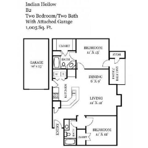 Two Bedroom | Two Bathroom | 1005 sqft