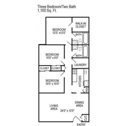 Three Bedroom | Two Bathroom | 1100 sqft