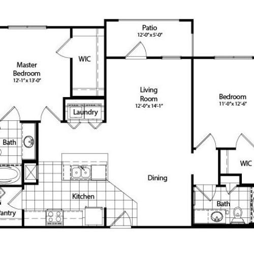 Two Bedroom | Two Bathroom | Deluxe | 1067 sqft