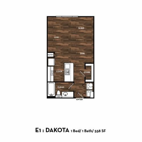 Floor Plan 1 | Luxury Apartments In San Antonio | 1800 Broadway
