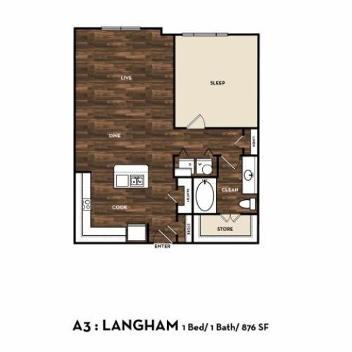 Floor Plan 6 | One Bedroom Apartments San Antonio Tx | 1800 Broadway