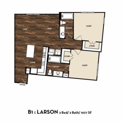 Floor Plan 7 | San Antonio 2 Bedroom Apartments | 1800 Broadway