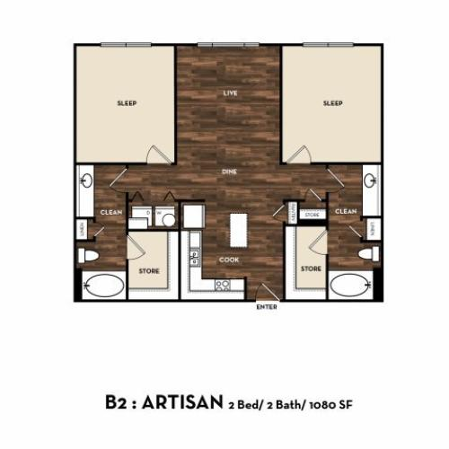 Floor Plan 8 | Luxury Apartments In San Antonio | 1800 Broadway