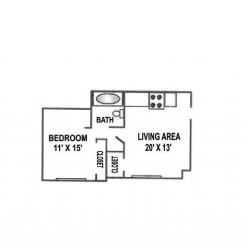 Jr. One Bedroom - Large | 475 Sqft