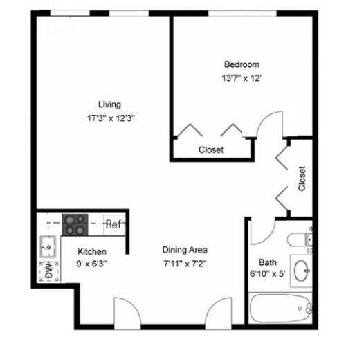 One Bedroom | Galley Kitchen | 650 sq ft
