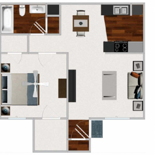 One Bedroom / One Bathroom 644 sqft