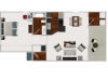 One Bedroom / One Bathroom  672 sq ft home