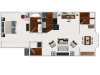 Our large 1 bedroom with morning room, 772 sq ft home