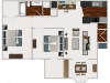 Our 2 bedroom/1 bath with Morning Room, 911 sq ft home