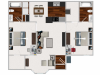 Our 2 bedroom/2 bath, with Morning Room, 991 sq ft home