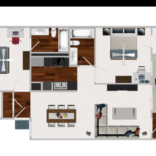 Two Bedroom / Two Bathroom, 924 sqft home