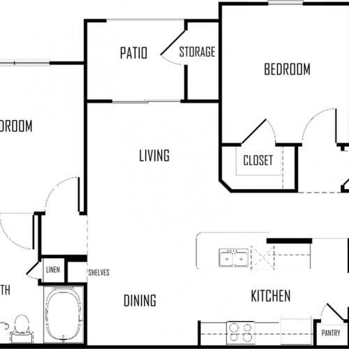 Two Bedroom | Two Bathroom | 1075 sqft