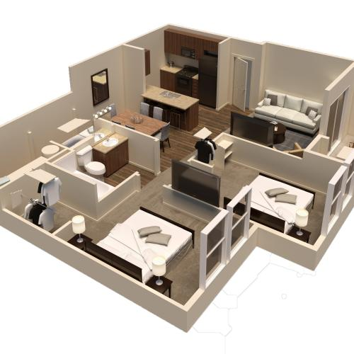 2 bed 1 bath rendering