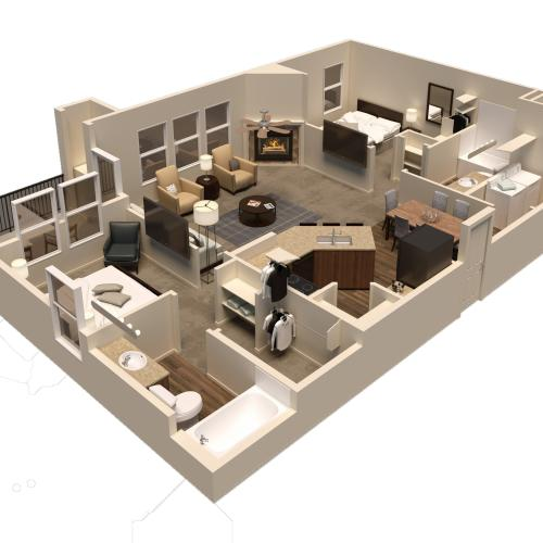 2 bed 2 bath lux rendering