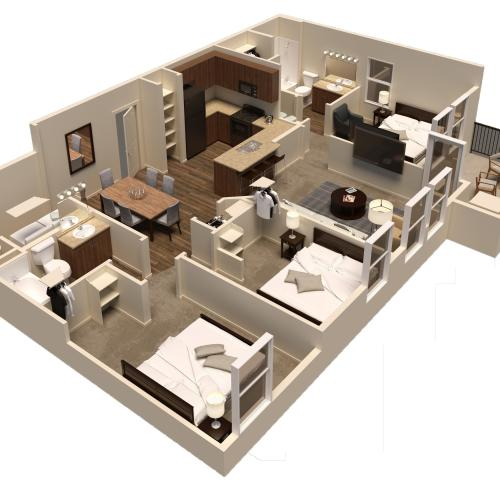 3 bed 2 bath rendering