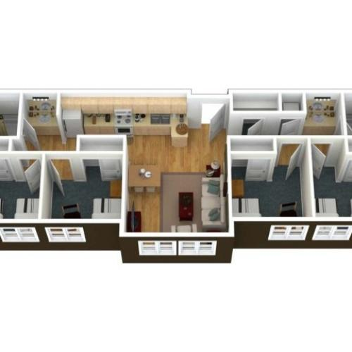 A 3 dimension view from above into a 4 Bedroom2 Bath - 6 Person Apartment. The private bedroom comfortably fits a twin extra-long and additional furnishing include a desk, chair and dresser per person in the bedrooms.