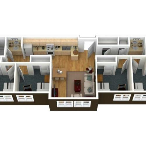 A 3 dimenisonal view looking from above into a 4 Bedroom2 Bath - 6 Person Apartment. Private and sharedbedrooms in the apartment comfortably fit twin extra-long beds and additional furnishing include a desk, chair and dresser per person in