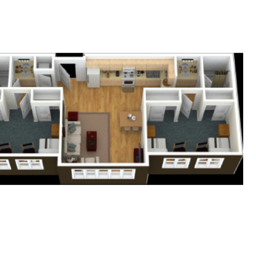 A 3 dimesional view of the unit from above looking into 2 spacious shared bedrooms in the apartment comfortably fit two twin extra-long beds and additional furnishing include a desk, chair and dresser per person in the bedrooms. The living