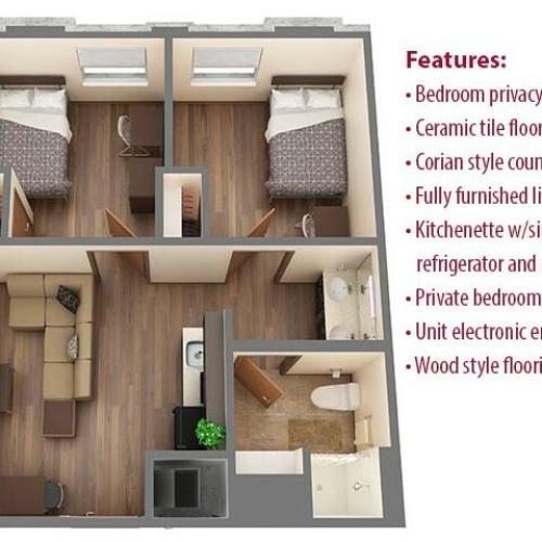2 Bdrm Floor Plan | University Of Oklahoma Apartments | Cross OU