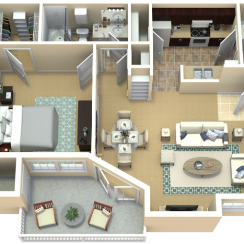 Prairiefire Crabapple Floor Plan | The Woods at Cherry Creek Apartments in Overland Park, KS