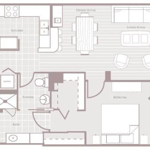 One bedroom one bathroom A2 Floorplan at Rienzi at Turtle Creek Apartments in Dallas, TX