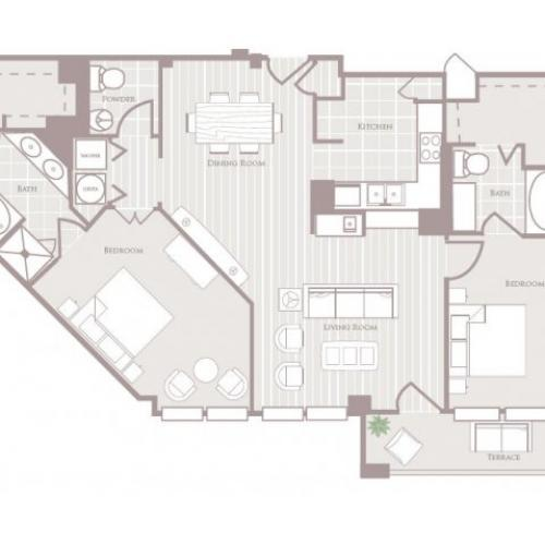 Two bedroom two and a half bathroom B5 Floorplan at Rienzi at Turtle Creek Apartments in Dallas, TX