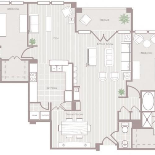 Two bedroom two and a half bathroom B7 Floorplan at Rienzi at Turtle Creek Apartments in Dallas, TX
