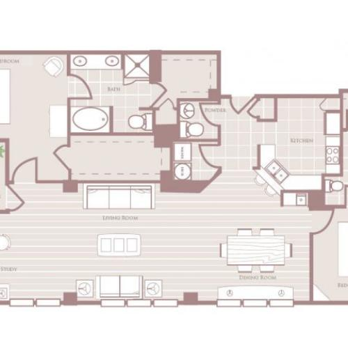 Two bedroom two and a half bathroom B8 Floorplan at Rienzi at Turtle Creek Apartments in Dallas, TX
