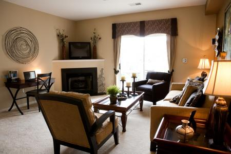 Living room with fireplace at River Forest Apartments in Chester, VA