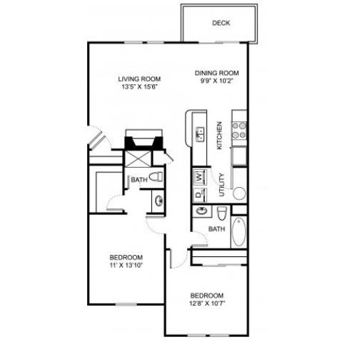 Two bedroom two bathroom B1 floorplan at The Residence at Barrington Apartments in Aurora, OH