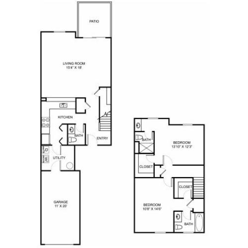 Two bedroom two and a half bathroom B3TH floorplan at The Residence at Barrington Apartments in Aurora, OH